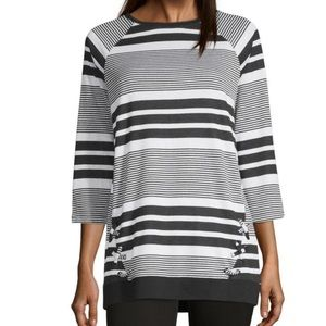 Liz Claiborne Weekend Crew Neck 3/4 Sleeve Tunic